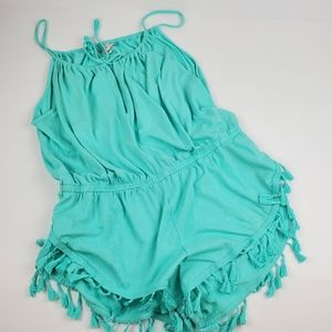 Victoria's Secret Aqua Fringe Romper Cover Up